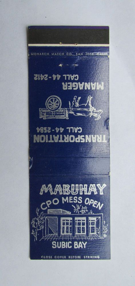 Subic Bay (Philippines) CPO Mess 20 Strike US Military Matchbook Cover Mabuhay