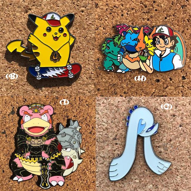 "I Have Now Grouped All My Pokemon Related Designs Into One Listing !  Please Read Over This Listing Before You Place Your Order As It Maybe Confusing.  Pins Will Be Listed By:  (Letter) - ""Name Of Pin"" - Amount Available - Price.  (A) ""Poke-Boof"" - (1) - $13  (B) ""Grateful Pickachu"" - (1) - $13  (C) ""Lugia Pretty Lights"" - (1) - $13  (D) ""Snortlax"" - (1) - $13  (H) ""Ash & Friends"" - (1) - $13  (I) ""Legend Of Pokemon"" Slowbro As Ganondorf - (5) - $15  (M) ""Pokedex"" - (1) - $13  (N) ""Zombie…"