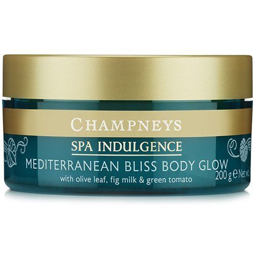 Champneys Spa Indulgence Mediterranean Bliss Glow by BOOTS. $11.99. Leaves skin feeling moisturized, smooth and glowing. From the Champneys Mediterranean Bliss range, inspired by Mediterranean sunshine, this exfoliating blend with sugar, olive oil, olive stone granules, coconut oil and shea butter leaves your skin feeling moisturized, smooth and glowing. 7 oz.How to Use:Champneys therapists recommend......twice a week massaging the body glow into skin before bathing. Rinse well.