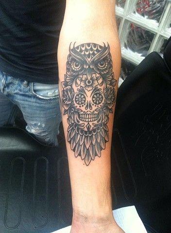 Owl and sugar skull tattoo by Cassandra Knox-Deluxe Tattoo