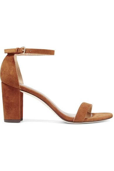 Heel measures approximately 80mm/ 3.5 inches Light-brown suede Buckle-fastening ankle strap Designer color: Amaretto Made in Spain
