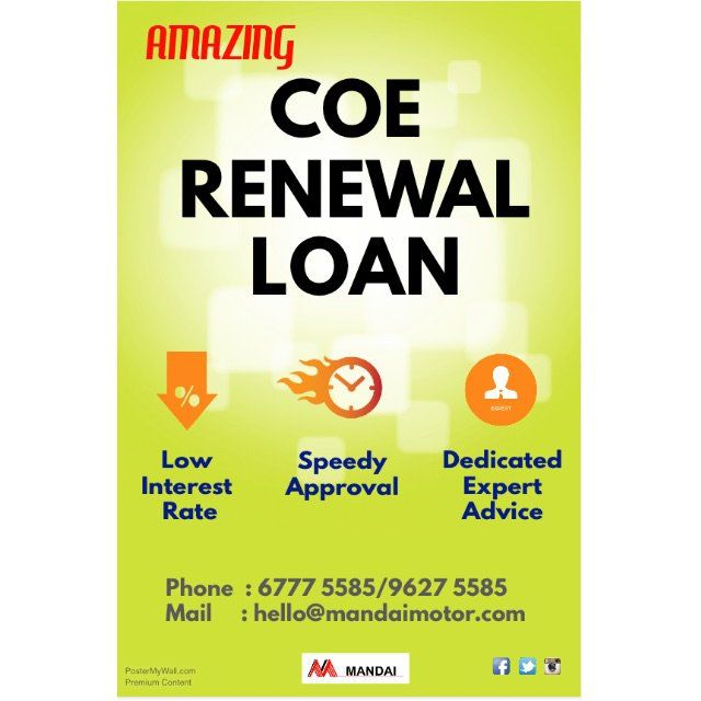 Mandai Motor Trading - A leader in COE RENEWAL LOAN. *** ATTRACTIVE INTEREST RATE (Be amazed)*** FAST APPROVAL (Save your precious time)*** FREE EXPERT ADVICE (Let us share with you more)Call us TODAY to find out more:6777 5585 (Line 1)9627 5585 (Line 2) - Uncle Ee9387 4964 (Line 3) - KelvinShowroom:31 West Coast Highway, Lot 8/9, Singapore 117864