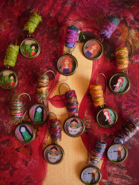 Whimsical art illustrated fiber & brass earrings by eltsamp, $28.00