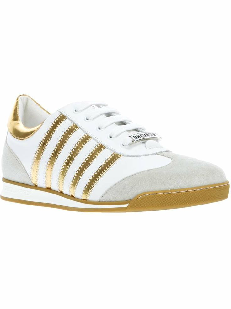 White and Gold Low-Top Sneakers.