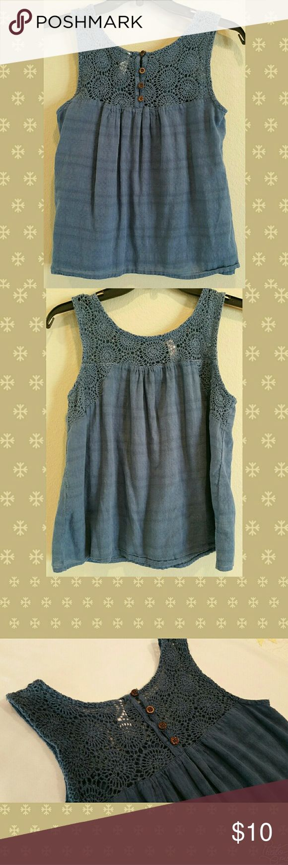 """SOFT FLOWY BOHO CROCHET LACE TOP MUTED BLUE This cute muted blue top has natural wood/coconut shell buttons, open crochet lace weave, & is made from airy, next to nothing weight fabric. Good used condition, does not look new, but certainly lots of life left.  FLAT MEASUREMENT: Pit to Pit  (bust ): 17.5"""" Length: 21.5"""" Bottom opening width: 23 new directions Tops"""