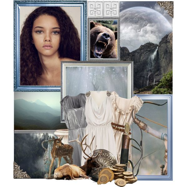 Greek Goddess: Artemis, Goddess of the moon, the hunt, and young maidens by storycosmicjasmine on Polyvore featuring River Island, Halston Heritage, Uttermost, Lolita Lempicka and MAC Cosmetics