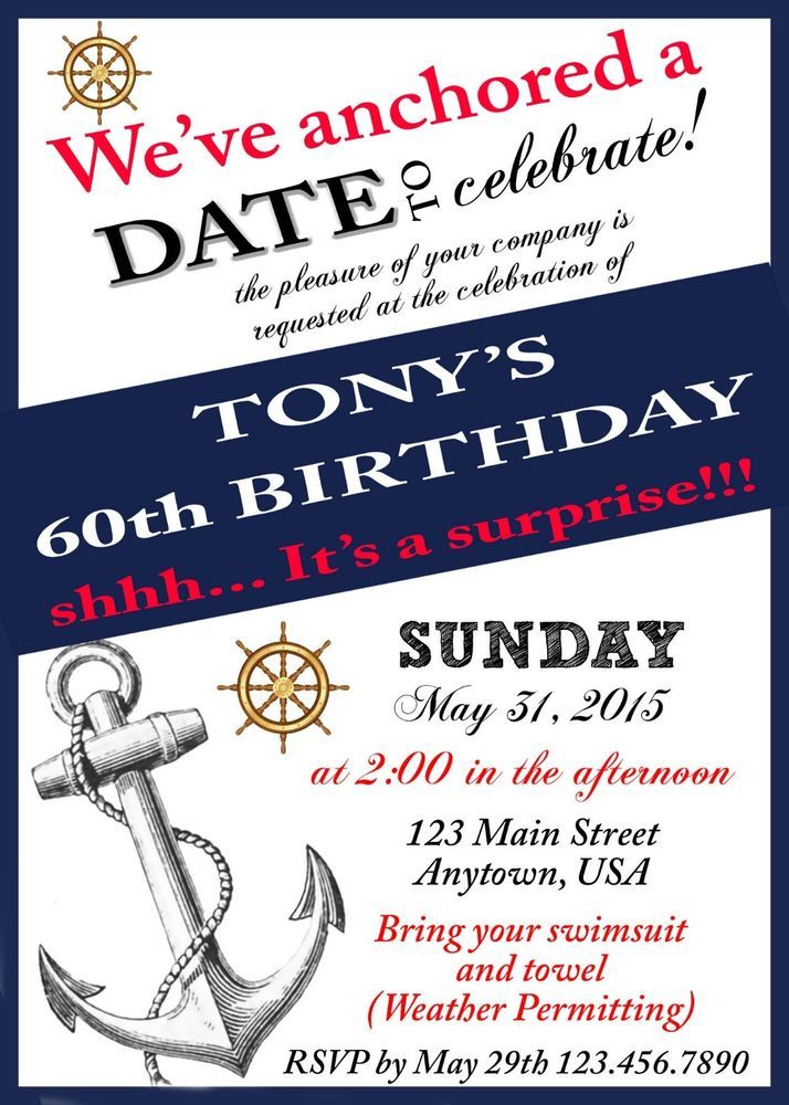 60th Birthday Invitations, Over the hill party, Birthday, Nautical Theme Party
