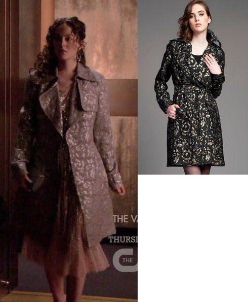 On Blair: Tracy Reese Black Brocade Trench, Jenny Packham Spring 2011 RTW Sequin Chiffon Dress