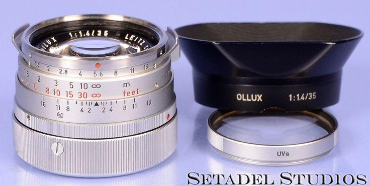 Leica 35mm Summilux F1.4 Chrome 1st V Steel Rim Lens w/ Ollux Shade +Metal Cap Rare