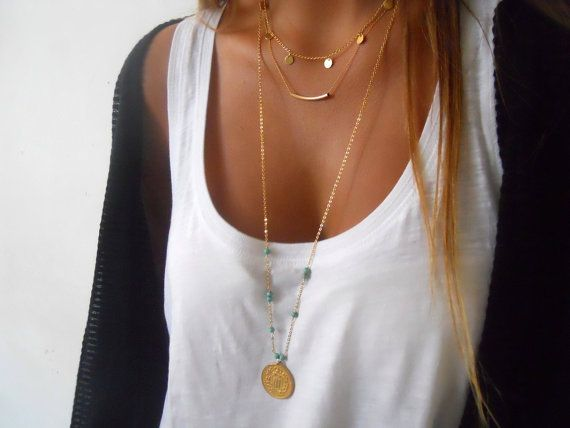 Triple Layered Gold Necklace Set ; Boho Chic Layered Necklace ; Gold filled Necklace Set ; Coins, Tube, Spiral Coin, Turquoise Beads ;