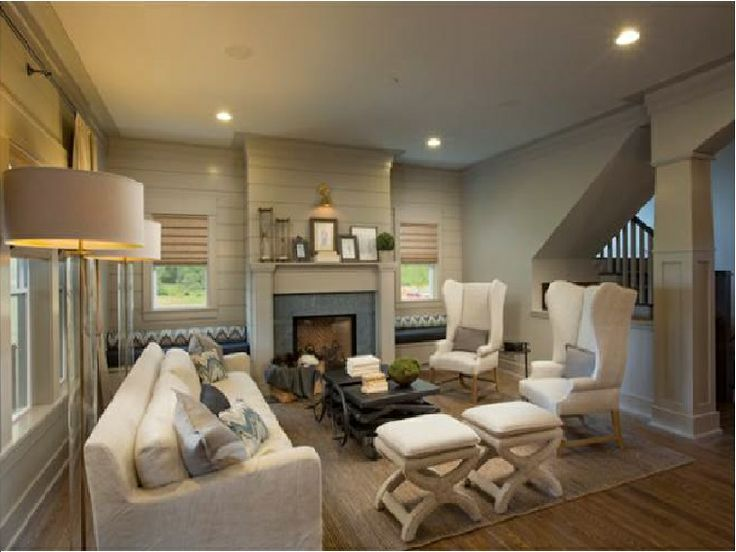 White And Taupe Living Room With Taupe Tongue And Groove Paneled Walls.  Fireplace Mantle Accented Part 79