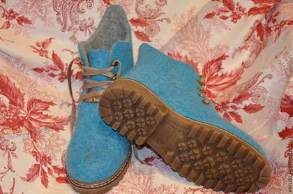 Купить Ботинки женские валяные Лагуна - морская волна, обувь ручной работы, валенки для улицы