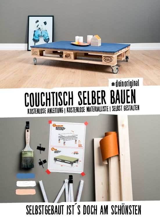 Couchtisch Einfach selber bauen - Palettenmöbel Tische jetzt - wohnzimmer farblich gestalten