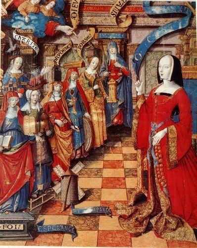 Anne de Bretagne et les vertus, love the open front showing the brocade lining