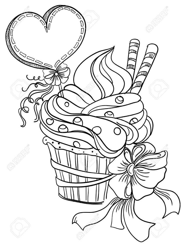 Вектор рука рисунок кекс с сердцем Клипарты, векторы, и Набор Иллюстраций Без Оплаты Отчислений. Image 23468604.