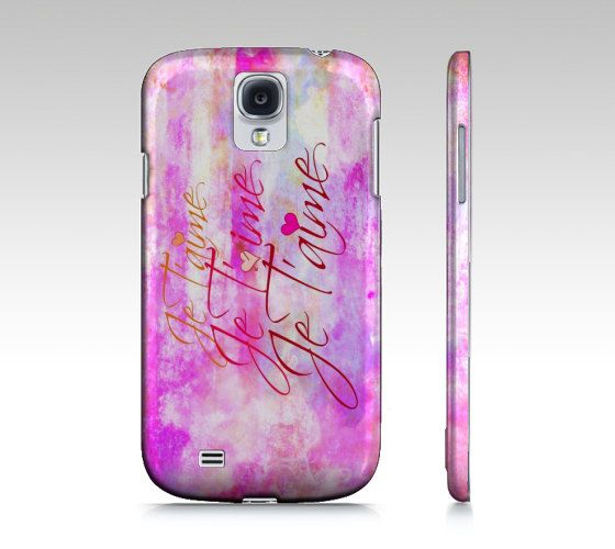 JE T'AIME Samsung Galaxy S3 S4 Hard Plastic Cell by EbiEmporium, $40.00  #Samsung #tech #device #cover #case #cell #phone #fineart #art #pattern #elegant #bold #colorful #techie #gift #stylish #accessories #fashion #GS4 #GS3 #Galaxy #MadetoOrder #custom #bold #pastel #feminine #girlie #French #ILoveYou #JeTaime #typography #font #calligraphy #sweet #romantic #romance #love #elegant #chic #women #pink #prettyinpink #clouds