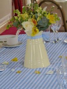 Blue Gingham Table Runners - to cover 5 foot tables - available to hire at £16.50 each for three days from http://www.thevintagebuntinghirecompany.com