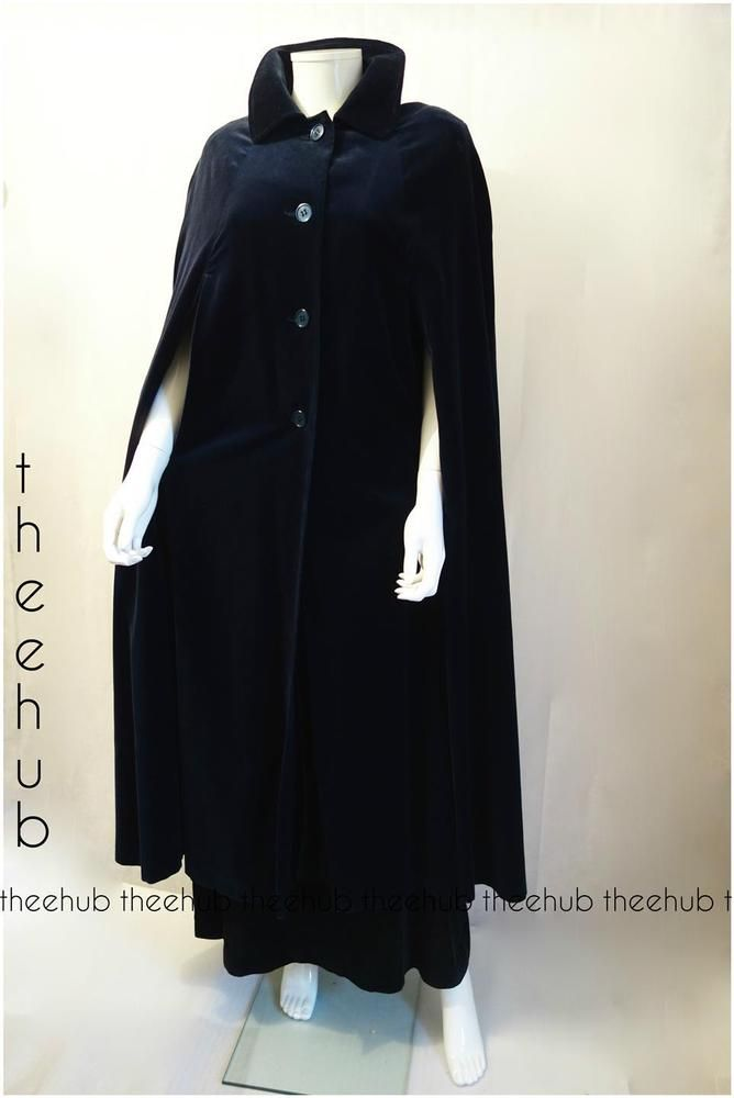 Vintage 1960s Romantic Austen Maxi Midnight Blue Velvet Cape Coat