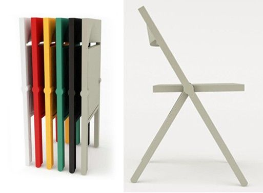 Perfect extra seating.  Sleek and simple, it folds completely flat, allowing for stacking horizontally or hanging on a wall hook.