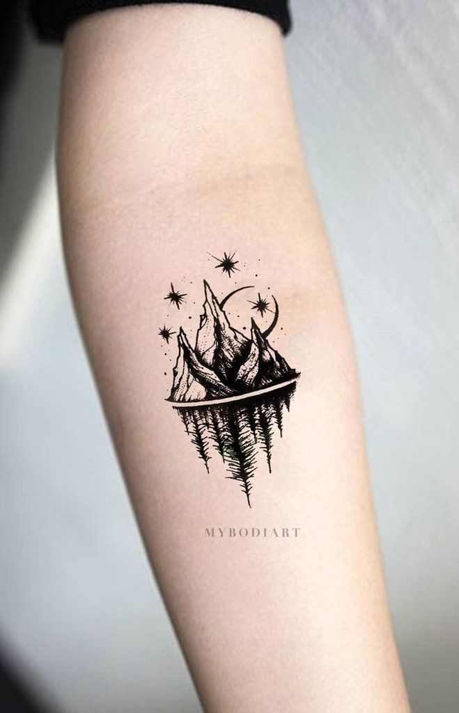 Small Black And White Tattoo Designs: Acaia Small Black And White Nature Mountain Trees & Stars