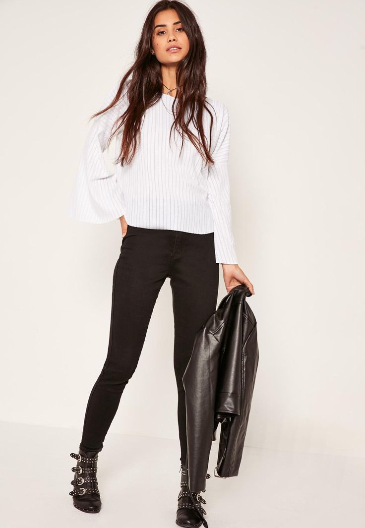 Missguided - Sheer Ribbed Flared Sleeve Top White