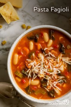 Hearty slow cooker soup recipe full of butternut squash, Italian sausage, spinach and small pasta