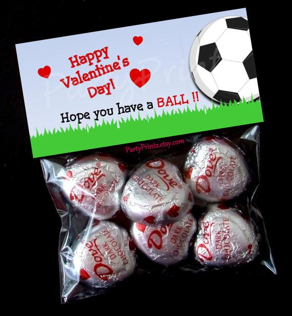 INSTANT DOWNLOAD - Printable Valentine Treat Bag Toppers  - Soccer BALL Valentine's Day on Etsy, $6.00