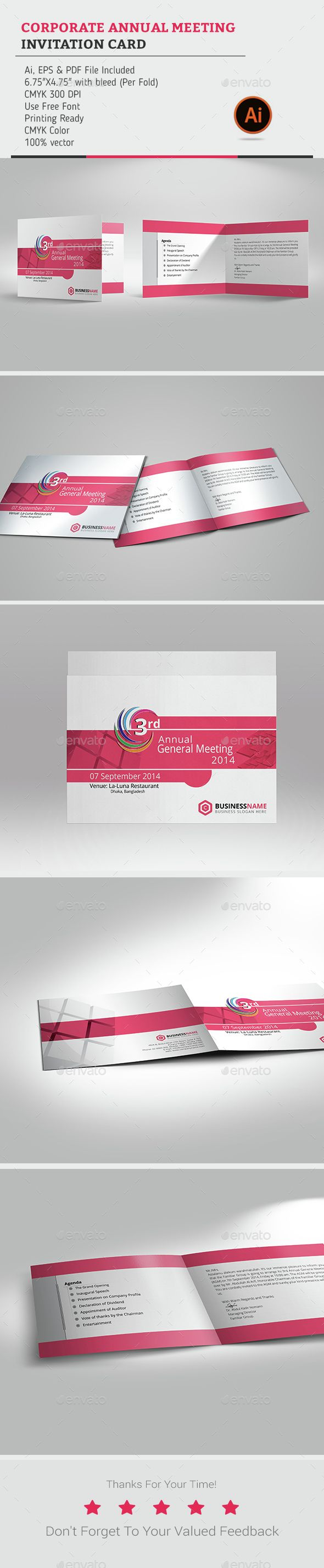 Corporate Annual Meeting invitation Card — Vector EPS #modern #print design • Available here → https://graphicriver.net/item/corporate-annual-meeting-invitation-card/7764201?ref=pxcr