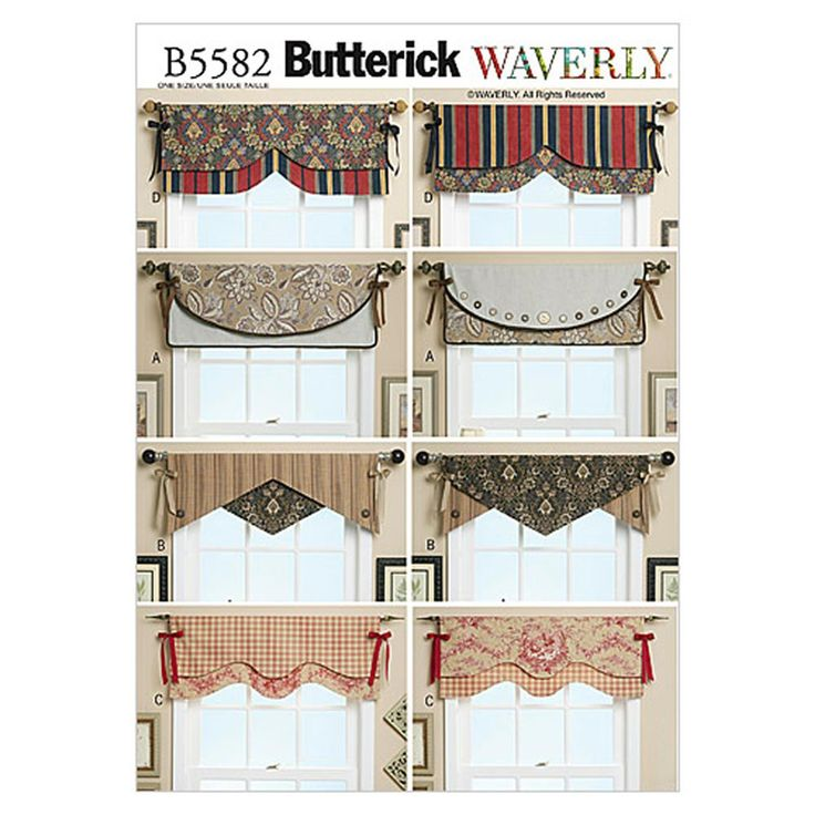 Butterick Reversible Window Valance Pattern B5582 Size OSZ from @fabricdotcom Pattern is for size One Size. <br><a href=https://s3.amazonaws.com/fabric-pdf/Butternick+Pattern+Back/B5582back.pdf>Click here for pattern back.</a> <br>