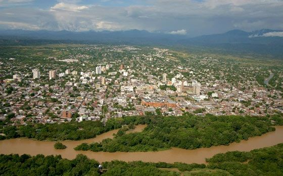 Aerial view of Neiva with the Magdalena River sweeping past to the west