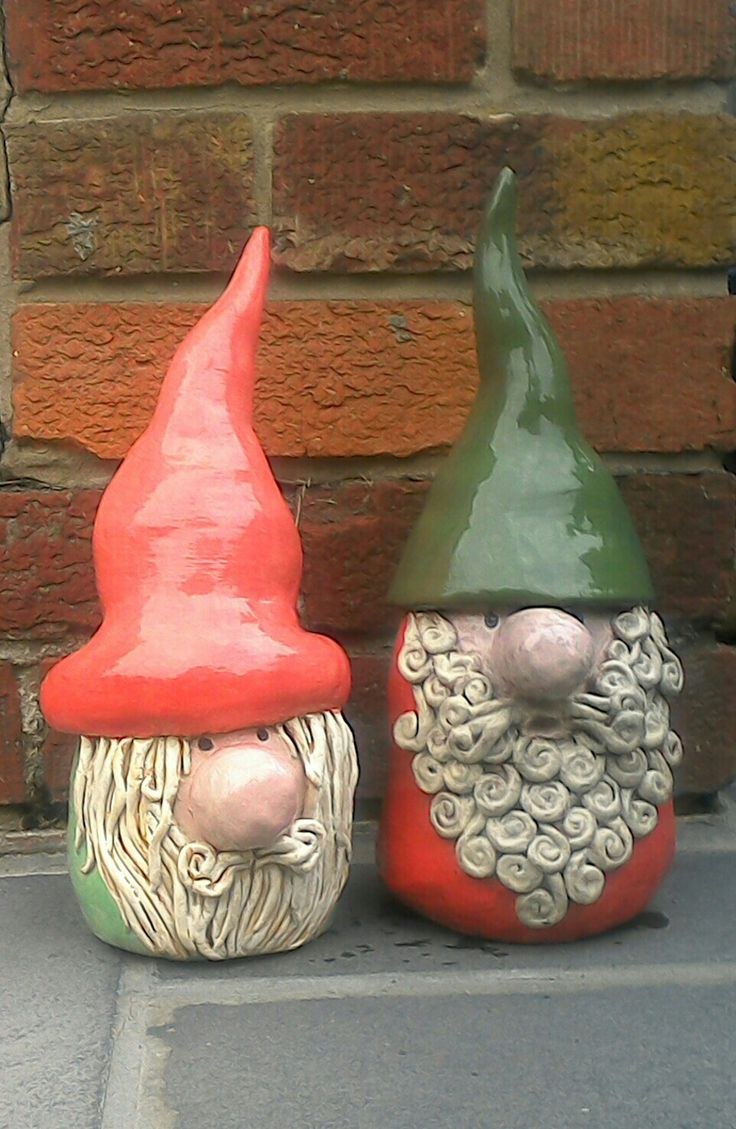 Two Old Gnome Rogue's. Ceramic Garden Gnome Creations (12 to 14 inches high).