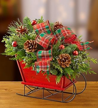 Christmas Sleigh with Fresh Evergreens