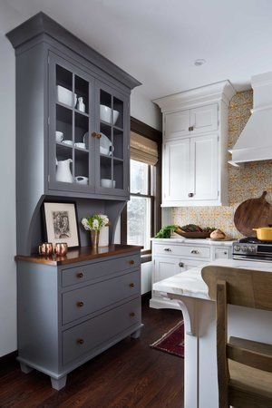 painted cabinets, grey, pale yellow, white, natural accents; CLOTH & KIND Interiors
