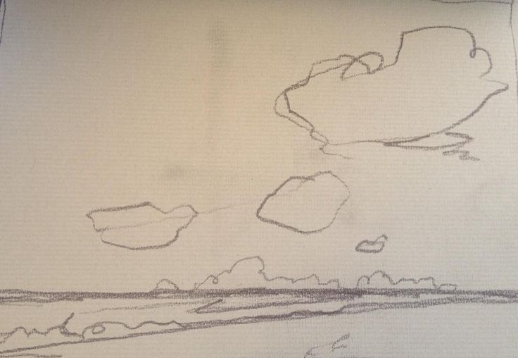 @jhtreynolds Day fourteen part II #DrawingAugust Sea, Clouds. Pencil on paper