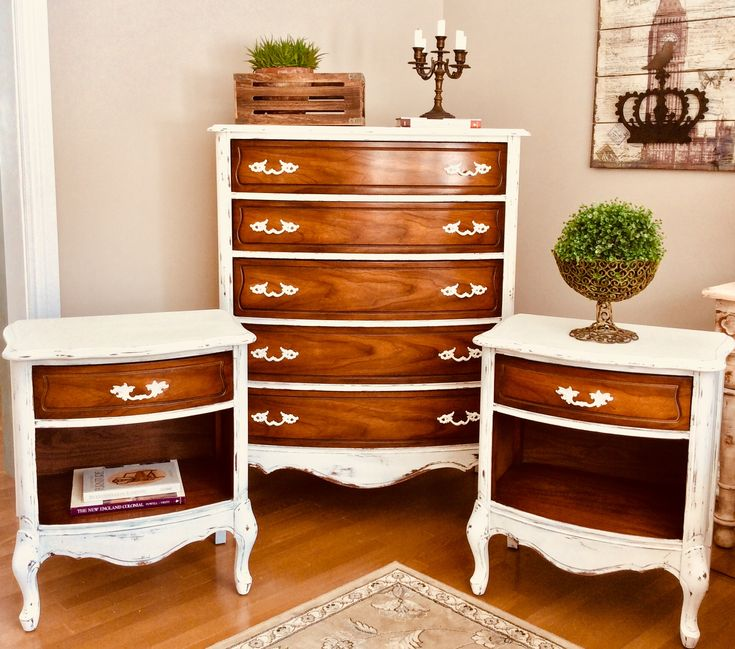 French Provincial painted dresser and night tables