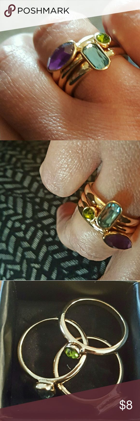 🌻Holiday party 3 ring set size 8🌻 price firm Gold plated with  amethyst,  peridot and aquamarine look alike stones. Got an extra one from my latest order. Avon Jewelry Rings