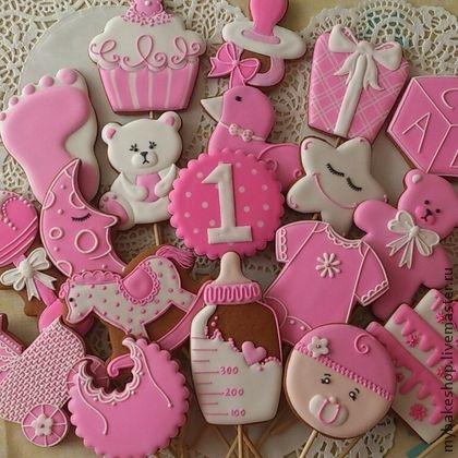 """""""Малютка"""" детские пряники - козули - розовый,белый,день рождения,малышка"""