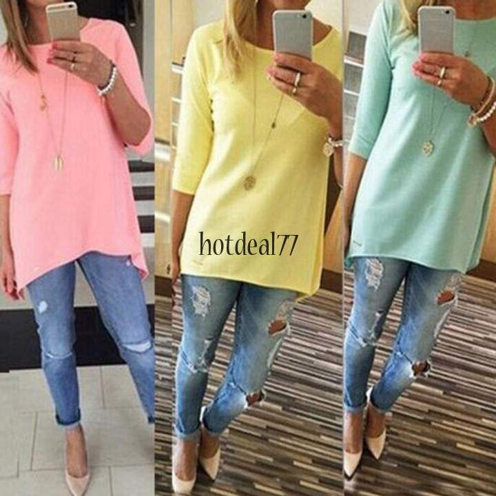 New Sexy Women's Long Sleeve Loose Long Tee Shirt Tops Casual Blouse T-Shirt 8HO #UnbrandedGeneric #BasicTee #Casual