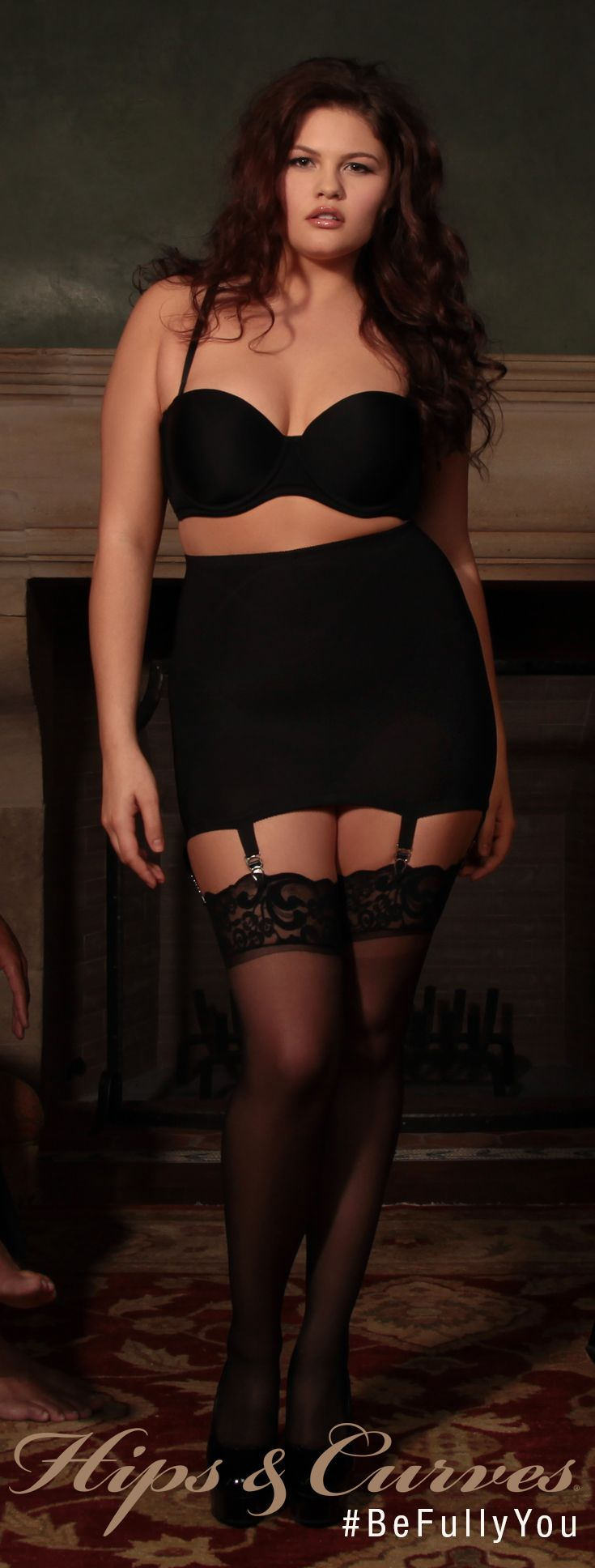 Let him want what he cannot have. A dark romance that lures him in.  Tease him in our plus size shaper skirt with our plus size 5 way convertible bra.