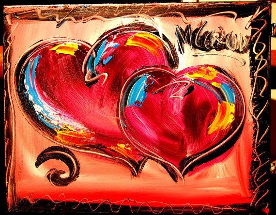 Abstract Hearts Painting Original Heavy Texture by kazavart