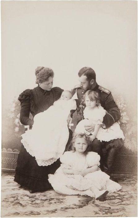 The Tsar & His Girls: from left to right are Tsarina Alexandra Feodorovna, Grand Duchess Maria, Grand Duchess Olga, Grand Duchess Tatiana and Tsar Nicholas II of Russia c.1899.