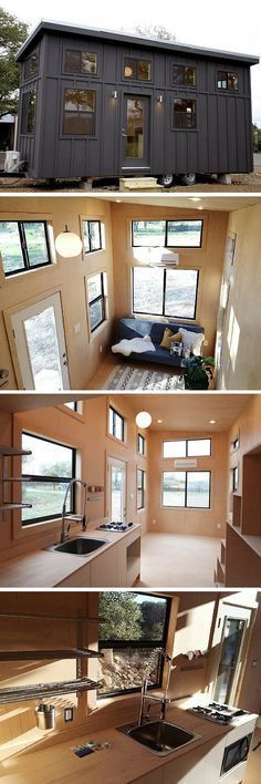 The Black Pearl: a 263 sq ft tiny house with a simple, modern interior.
