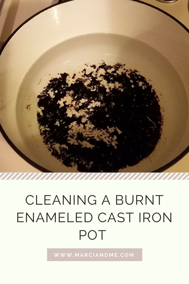 Cleaning a burnt enameled cast iron pot have a burnt