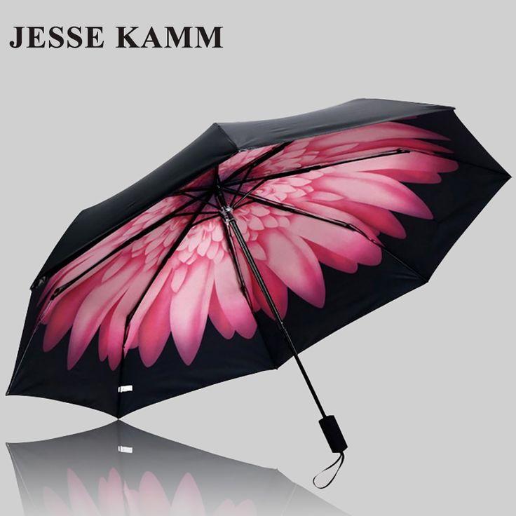 2017 new fashion three folding compact lady Anti-uv women Female sunny sunshade rain sun black coat  beauty strong umbrellas #Affiliate