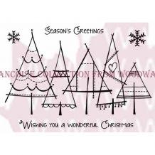 Woodware - CHRISTMAS TREES - silikonová razítka