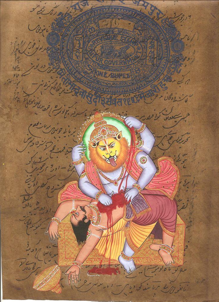 Narasimha Vishnu Avatar Artwork Handmade Hindu Deity Indian Religion Painting