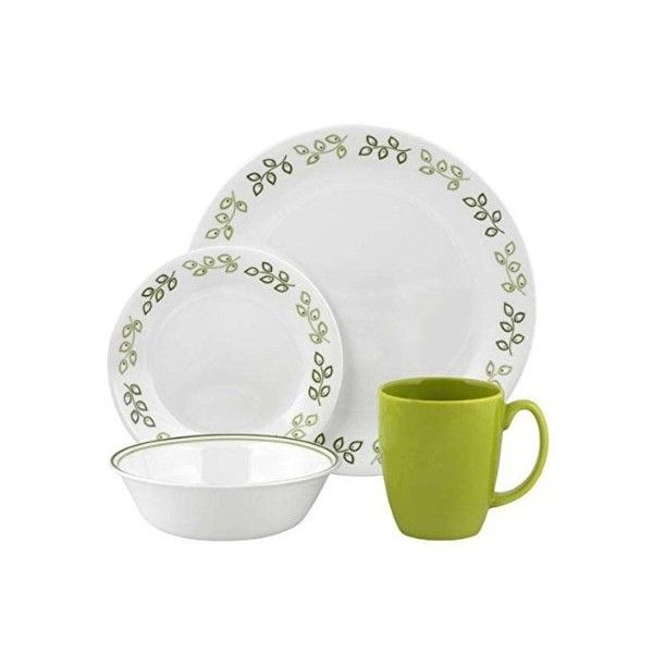 Corelle Neo Leaf 16pc Dinner Set (4,725 INR) ❤ liked on Polyvore featuring home, kitchen & dining, dinnerware, leaf dinnerware, stoneware dinner sets, corelle dinner set, corelle cereal bowl and corelle stoneware
