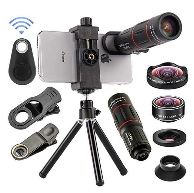 for iPhone X XS Max XS XR//8//7//6//6s Plus Samsung Andriod 2 Lens Phone Camera Lens 5 in 1 Cell Phone Lens Kit Fisheye Lens 12X Zoom Telephoto Lens Super Wide Angle Lens+ Macro Lens