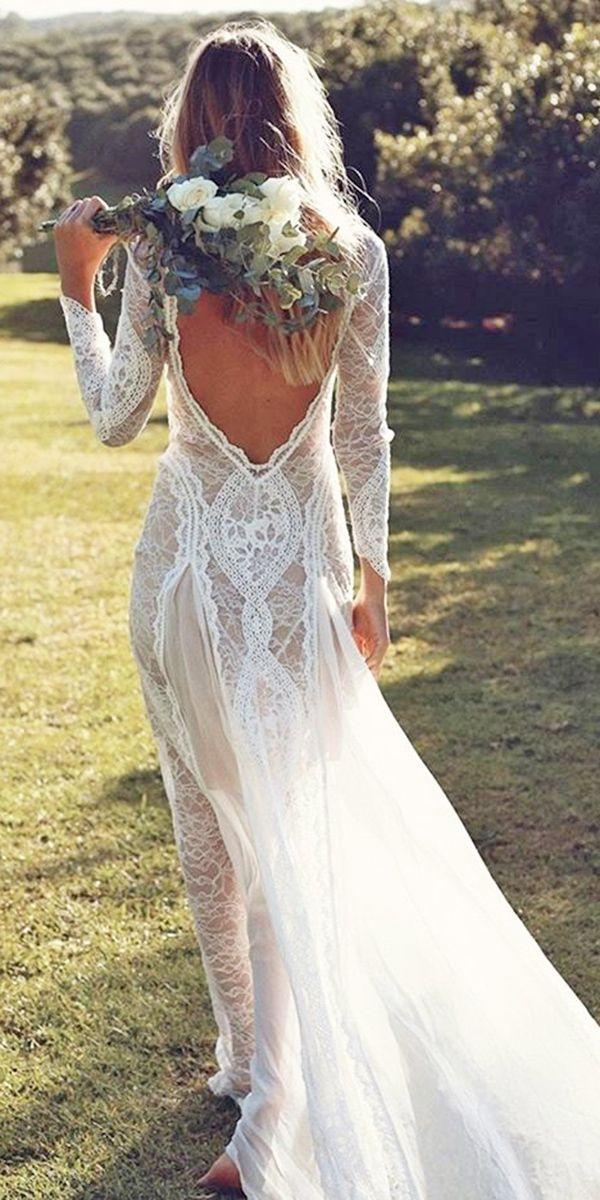 best lace long sleeve open back bohemian wedding dresses 2017 grace loves lace