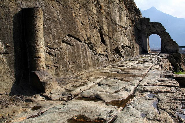 Stretch of Roman road engraved on the Alps rock in Donnas, Valle d'Aosta. It was part of the road to Gaul, connecting Eporedia (Ivrea) to Augusta Pretoria (Aosta), Italy.